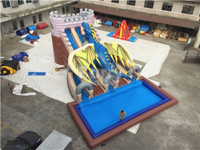 Special Industrial Inflatable Dragon Water Slides For Sale BY-WS-120